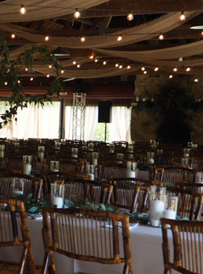 Dinner tables at venue